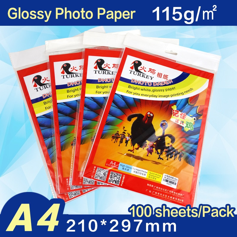A4  115g Glossy Photo Paper 100 sheets/pack high resolution photo printing paper  for inkjet printer 2021 hot sale 100 sheets glossy 4r 4x6 photo paper 200gsm high quality for inkjet printers