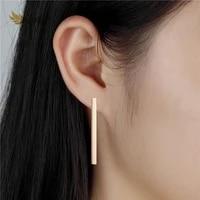 fgifter minimalist drop earrings 3cm long barbell earring rose gold stainless steel jewelry for women