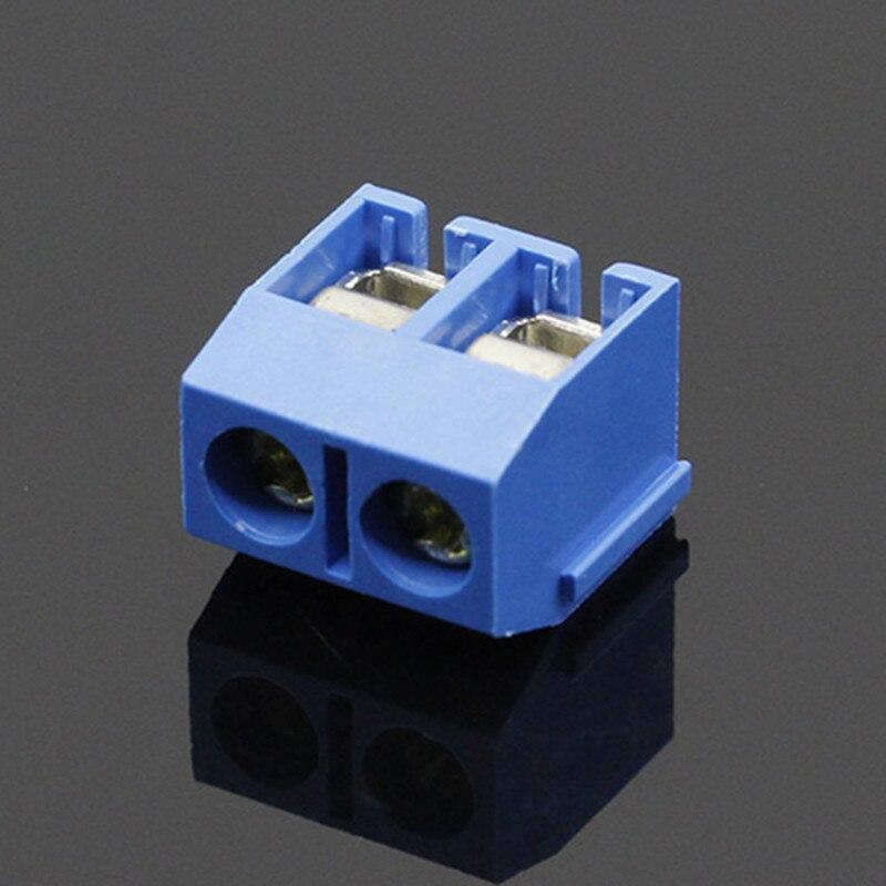 100 unids/lote KF301-2P KF301-5.0-2P KF301 tornillo 2Pin recta de 5,0mm Pin PCB bloque de terminales de tornillo conector azul