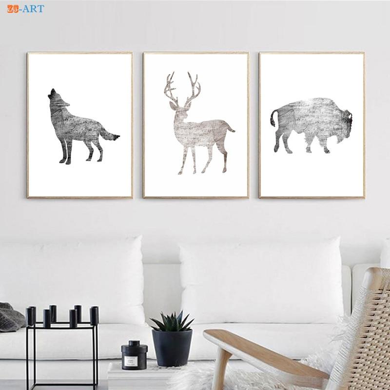 Buffalo Wolf  Stag Art Print Poster Minimalist Wall Art Baby Animal Canvas Painting Modern Nursery Kid Room Decor
