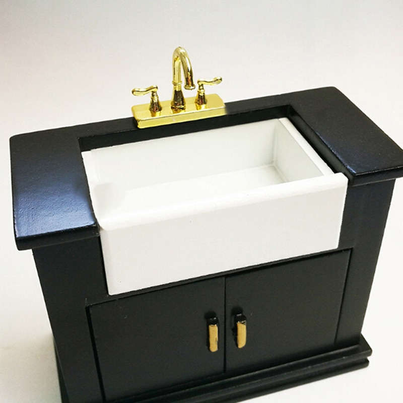 1Pcs Alloy Bathtub Faucet Simulation Water Tap Model Furniture Toys for Doll House Decoration 1/12 D