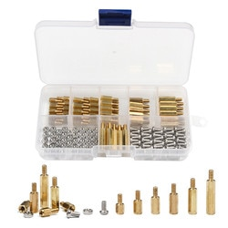 180 pces m3 hex porca espaçamento parafuso de bronze rosqueado pilar pcb placa-mãe impasse espaçador prendedor kit de ferramentas