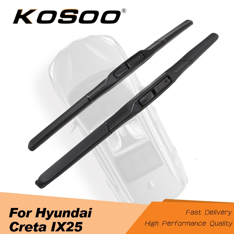 "KOSOO For Hyundai Creta ix25 24""+16"" 2014 2015 2016 2017 2018 Car Wiper Blades Rubber Fit Hook Arm Auto Clean The Windshield"