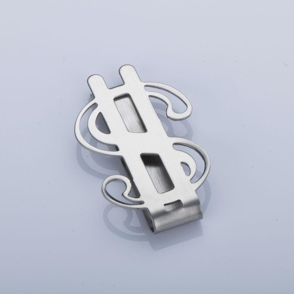 1 pc Creative Cool Money Clip Stainless Steel Dollar Design Money Holder Clip Smooth Dollar Sign Money Credit Card Clip Holder