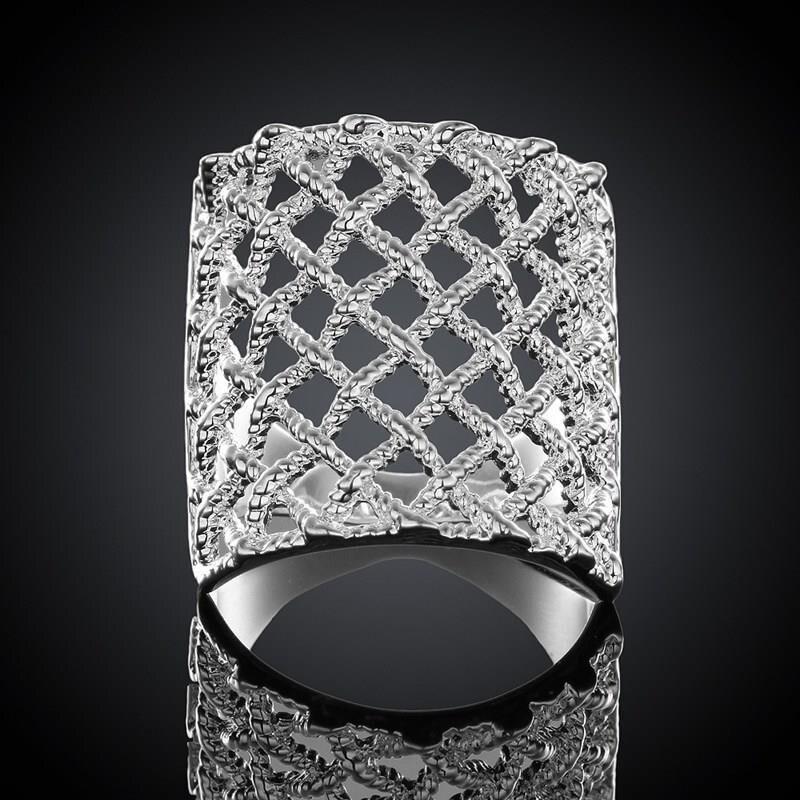 2017 роскошное кольцо с серебряным покрытием 925 пробы, модное ажурное Ювелирное кольцо для женщин и мужчин, большой любовник, свадебный подаро...