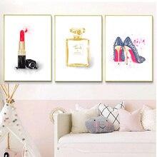 Affiche toile dart murale nordique   Toile, peintures nordiques, parfum rouge à lèvres, sacs imprimés HD, chaussures, décoration de maison, affiche modulaire pour salon