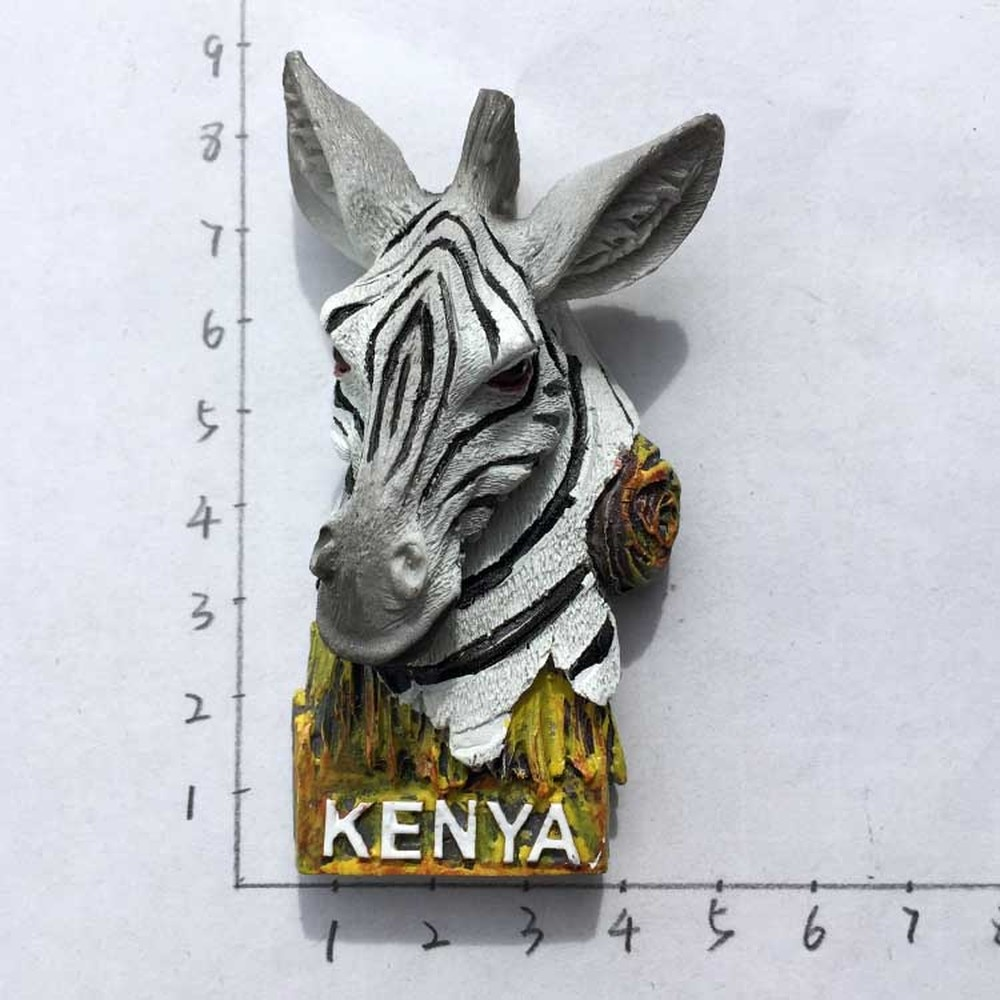 Nuevos imanes de nevera de África Kenia, imanes magnéticos de cebra hechos a mano de resina 3D, pegatinas magnéticas para viajes y turismo, regalo de recuerdo