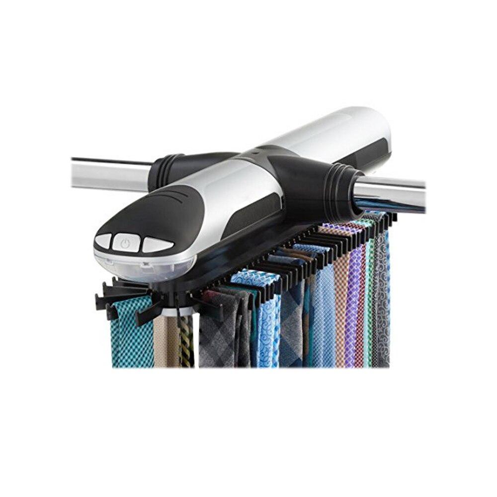 Estante de corbata automático, estantes de amarre giratorios eléctricos, gancho de corbata, colgador de bufanda, estante organizador para cinturón