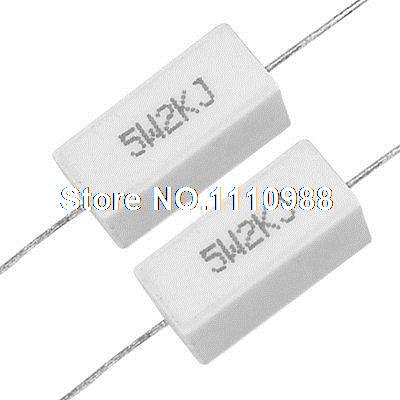 10 Pcs Axial Ceramic Cement Power Resistor 2K ohm 5W 5%
