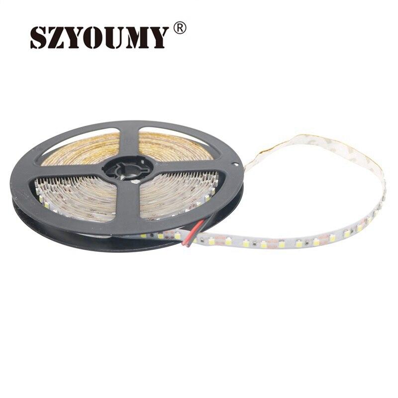 SZYOUMY 12V 12V 2835 de 100M tira de LED de 5mm 8MM IP65 IP20 no impermeable 120 leds/M 5 m/rollo de LED blanco/cálido/azul/rojo/verde