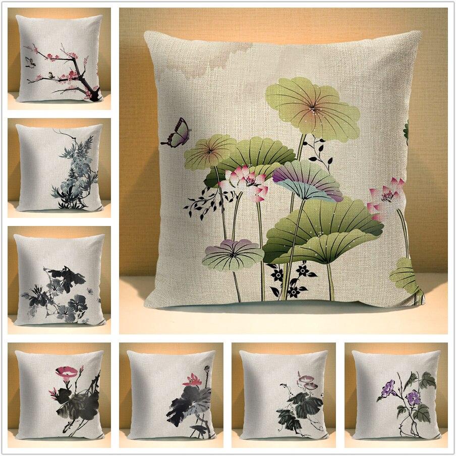 Housse de coussin carrée pour canapé   Plante à lencre chinoise, fleurs, lin, feuilles de 45*45 cm, taie doreiller décorative imprimée pour la maison