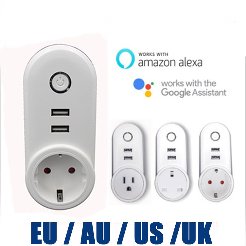 C178A WIFI Slimme Timing Plug Met Dual USB 5 v 1.5A output Poorten Socket Draadloze Outlet ondersteuning Voice Control Alexa google thuis