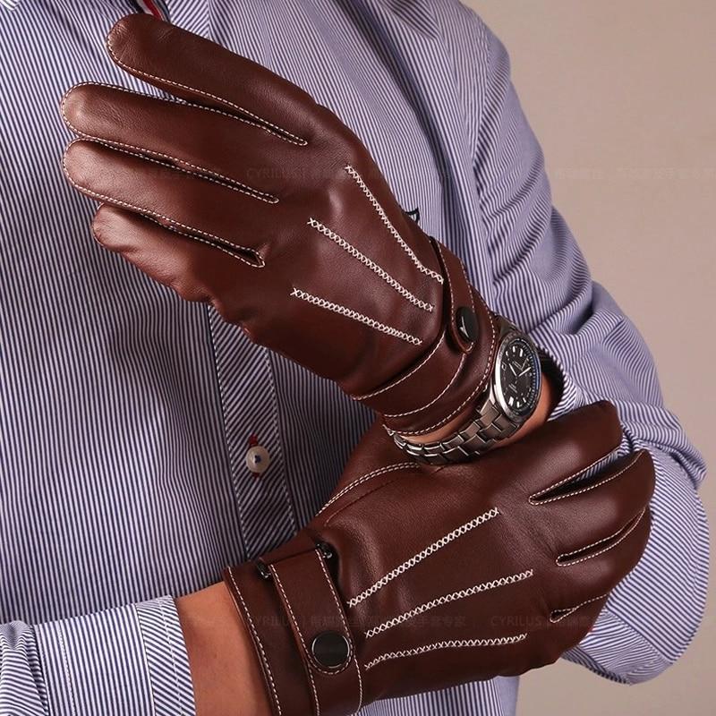 Herren Handschuhe schaffell Echte Leder Handschuhe Taste Handgelenk Feste Männliche Leder Handschuhe Mode Für Männer Driving Winter Warme Handschuhe