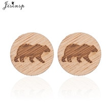 Jisensp Simple Cute Pole Bear Stud Earrings Tiny Handmade Animal Wooden Earrings Jewelry For Women G