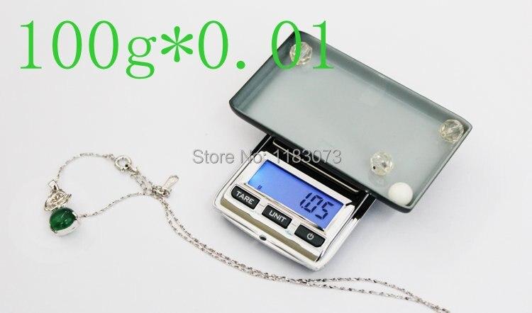 Mini bolsillo joyería balanza 100G 0,01g LCD Digital electrónico diamante laboratorio gema balanza peso Balance azul luz de fondo