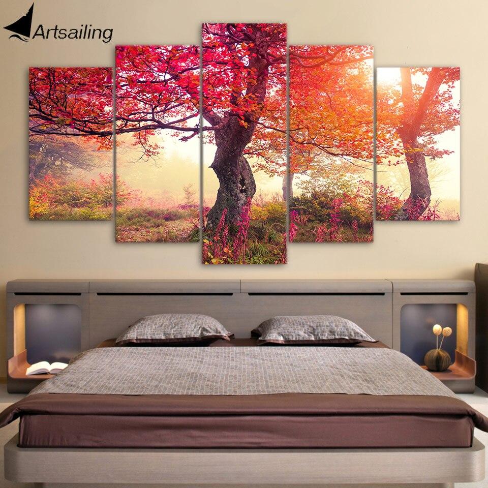HD печать 5 шт. живопись сезоны деревья Красные Деревья лес Картина Большой Холст Искусство настенные картины для гостиной ny-7460C