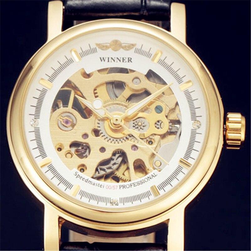 VENCEDOR Da Marca de Moda das Mulheres Caso de Ouro Esqueleto Mecânico Automático Dial Pulseira de Couro Relógio de Pulso Clássico Senhoras Relógio de Presente