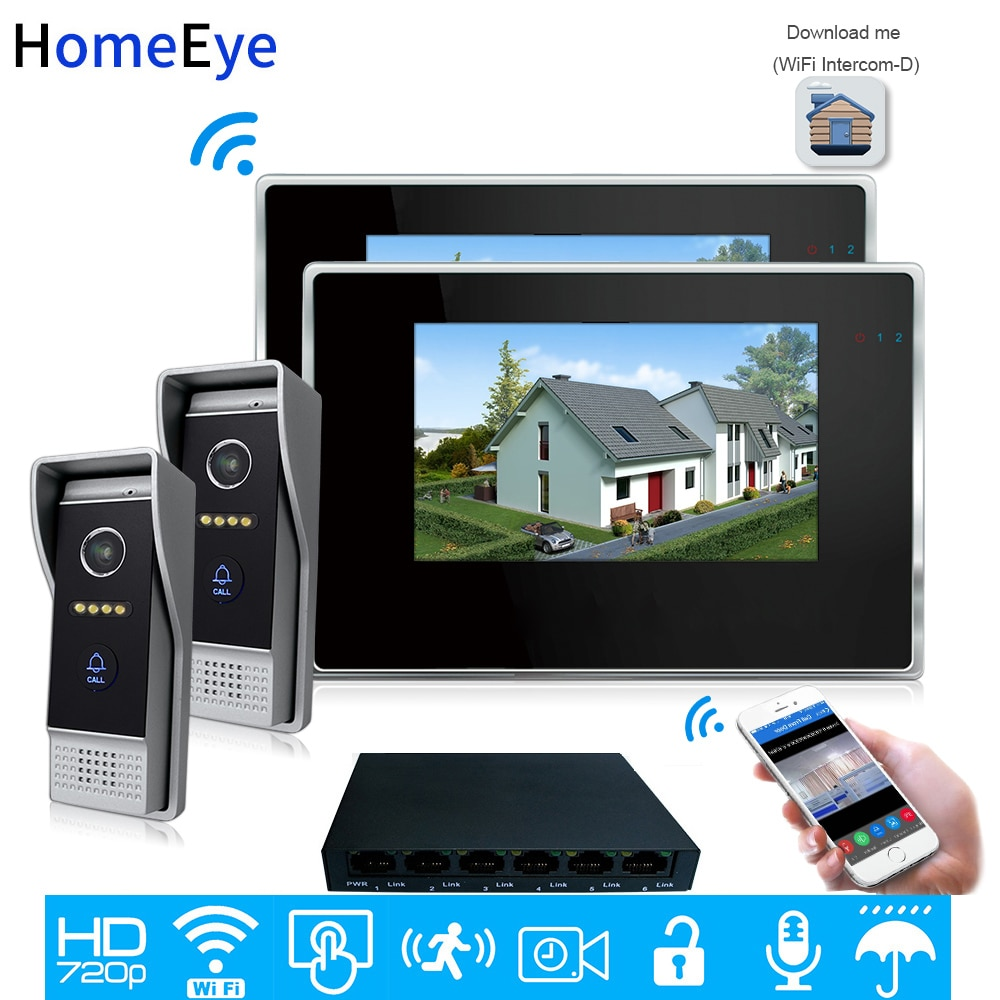 720P WiFi IP Video Door Phone Video Intercom 2-2 Home Access Control System Android IOS App Remote Unlock Touch Screen Wholesale