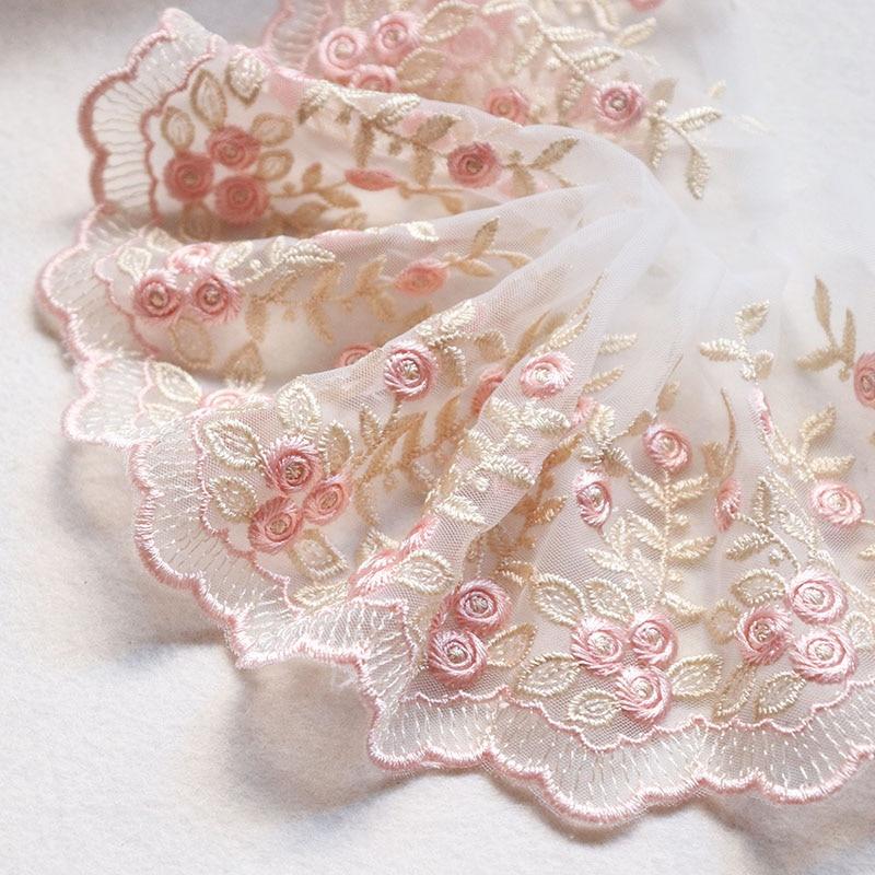 2 metros 10cm de largura handmade ouro linha flor bordado guarnição do laço tule casamento cabelo arco roupas diy artesanato tecido renda costura