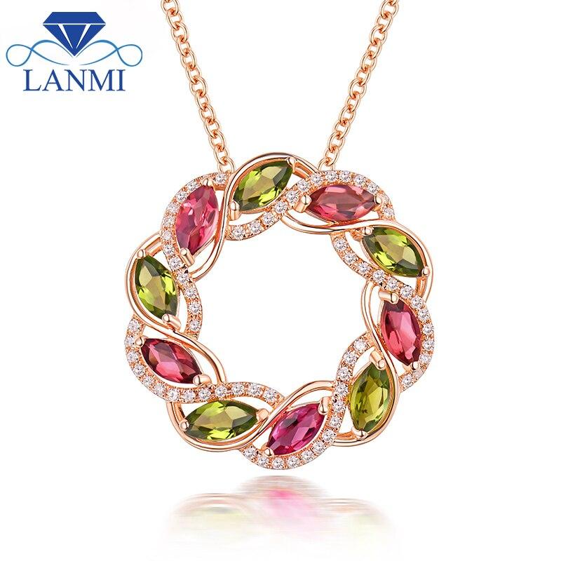 Macizo auténtico 18K oro rosa Natural turmalina verde collar con colgante para boda de diamantes de lujo para mamá coloridos joya regalo de la joyería