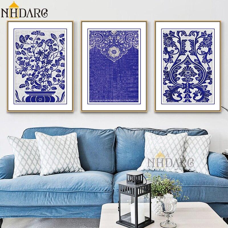 Pósteres e impresiones con patrones de florero chino azul y blanco, pintura en lienzo, cuadros artísticos de pared para la decoración del hogar de la sala de estar