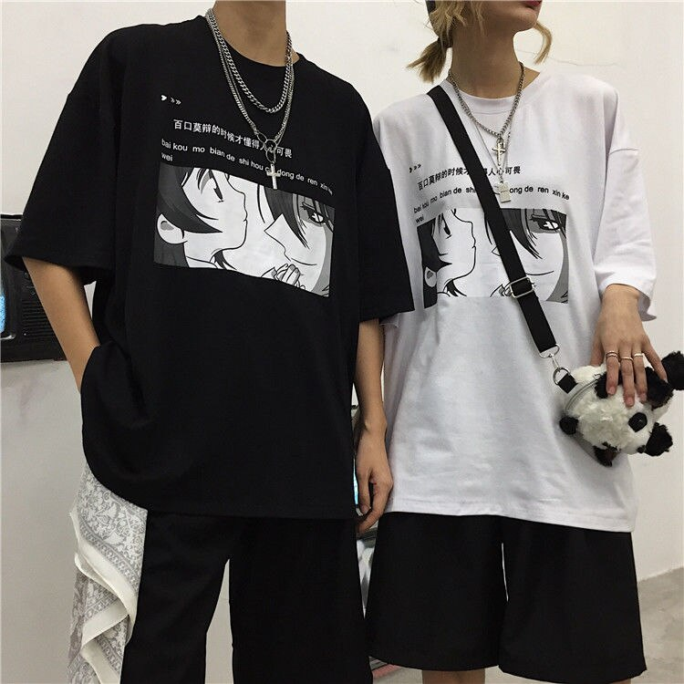 Ropa de verano, camiseta de moda para parejas, camiseta coreana Ulzzang Harajuku, estampado vintage, camisetas de manga corta, camiseta suelta para mujer