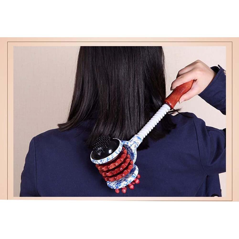 Masajeador de rodillos Manual Body Hammer, herramienta de masaje de relajación con mango de madera para cuello, brazo, hombro, para espalda y piernas, envío total