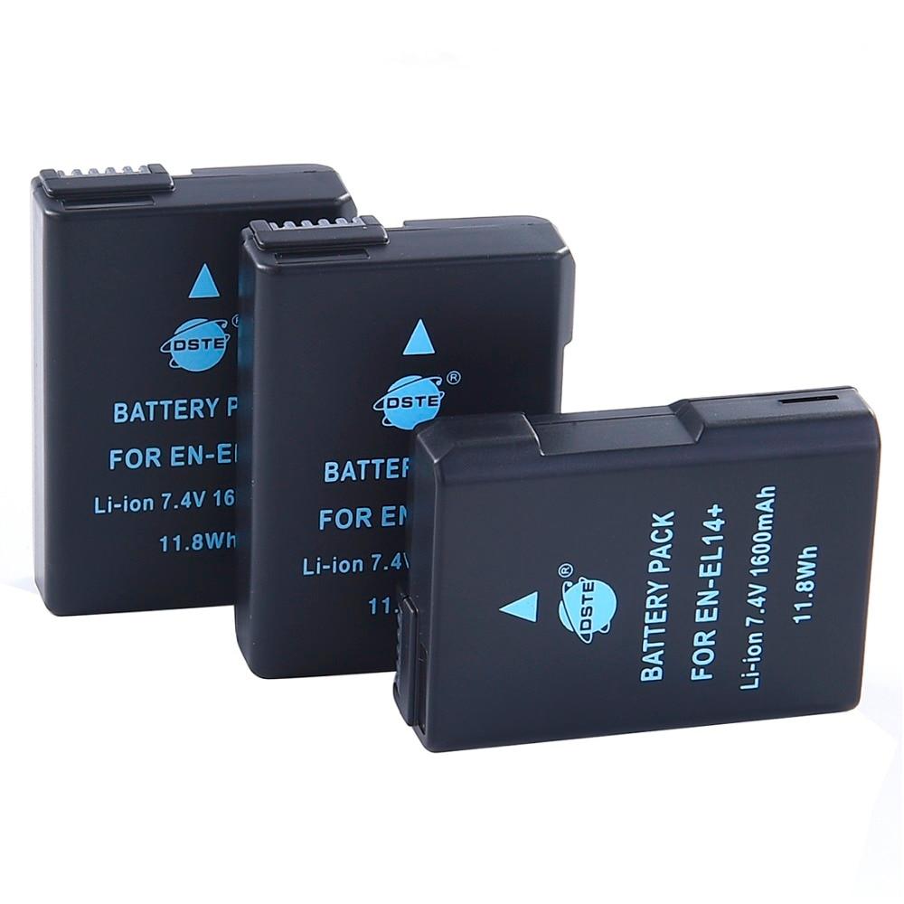 DSTE 3PCS EN-EL14 enel14 Camera Battery for Nikon D3100 D3200 D5100 D5200 P7000 P7100 P7200 P7700 P7800 D3400 D5600 D3500