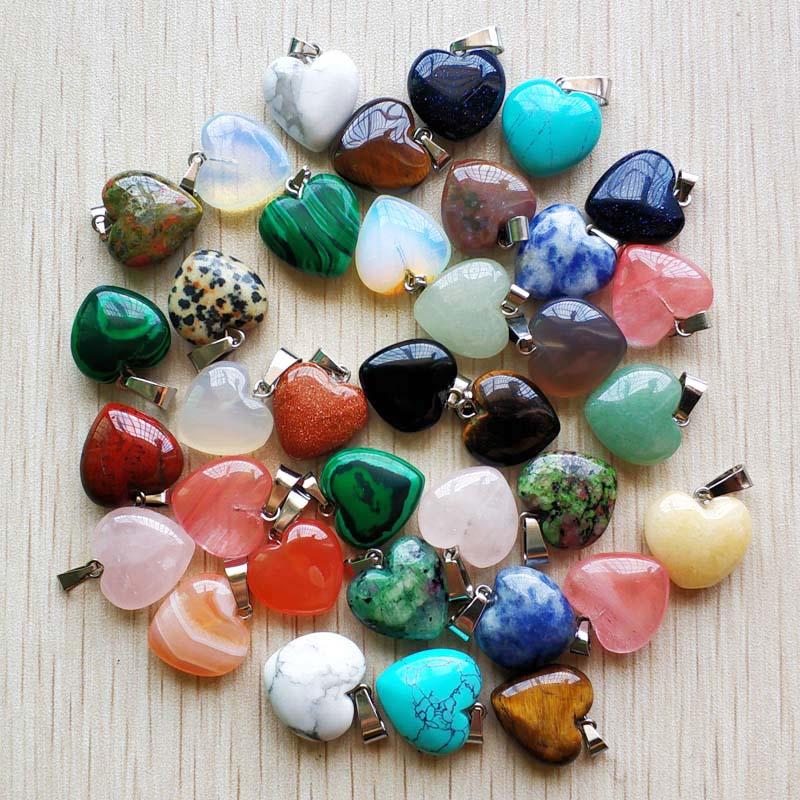 الجملة 50 قطعة/الوحدة الأزياء جيدة جودة الحجر الطبيعي مزيج القلب سحر المعلقات 16 مللي متر للمجوهرات اكسسوارات صنع شحن