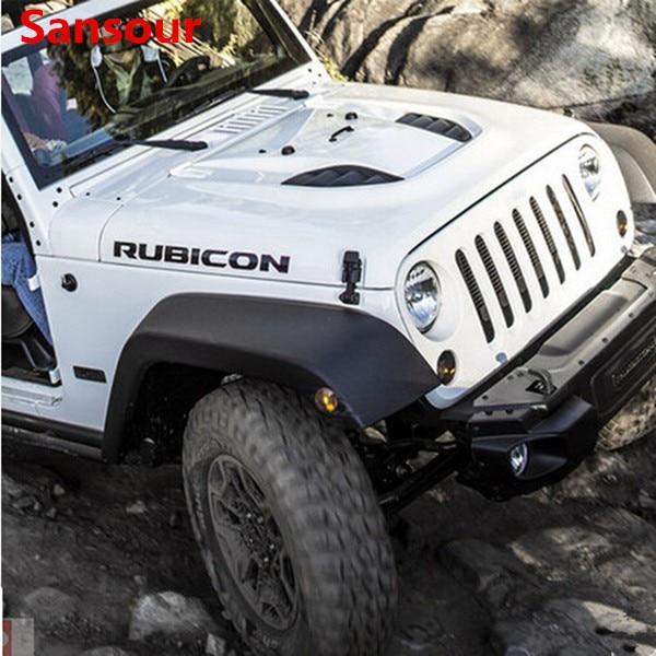 "Sansour 2 uds deporte motor Hood guardabarros lado ""Rubicon"" carácter etiqueta engomada etiqueta de vinilo para Jeep Wrangler TJ JK"
