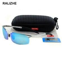 RALIZHE Mens Polaroid Polarized Sunglasses Aluminum Magnesium Sport Retro Rectangle Sun Glasses Ligh