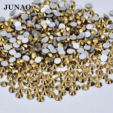 JUNAO SS 6 8 10 12 16 20 Glass Crystals Gold Nail Rhinestones Flatback Stones and Crystal Nail Art Decoration Non Hotfix Strass
