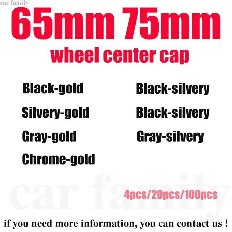 Estilo de coche 4x/20x/100x65MM 75MM logotipo coche emblema de centro de la rueda tapa cubre de llanta, cubo tapa/plateado/gris/Negro/cromo