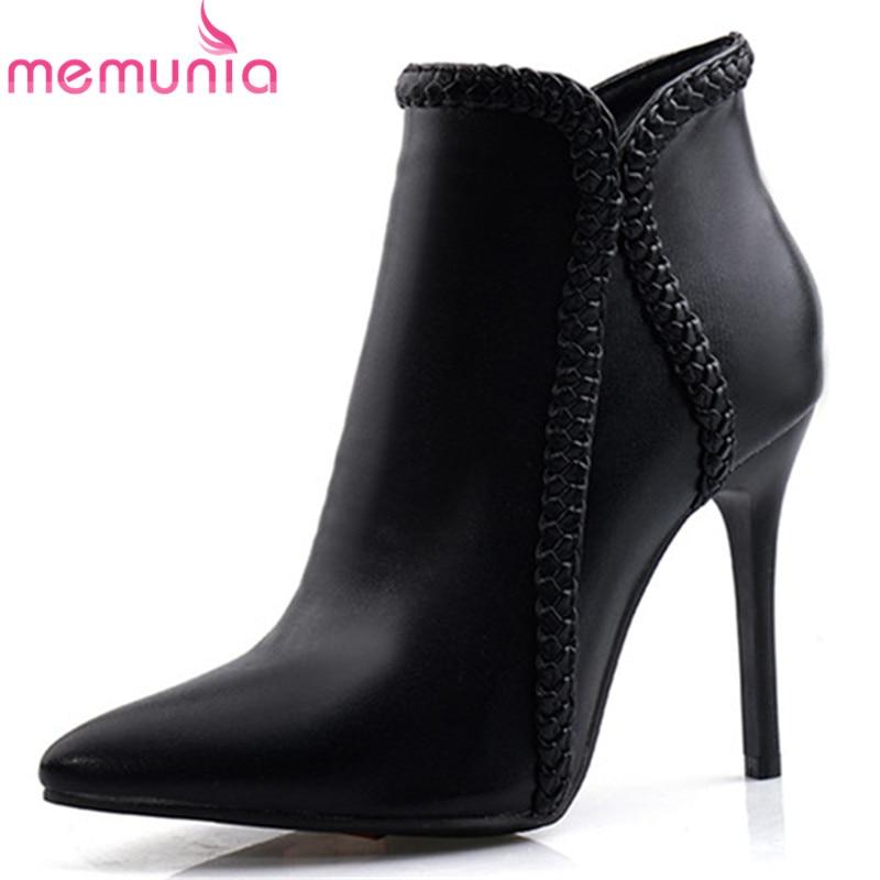 MEMUNIA, 2020, talla grande, 48, botines para mujer, puntiagudos, cremallera, Otoño, tacones altos, botas, zapatos sexis a la moda para fiestas, bodas, mujer