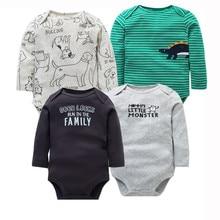 Vêtements pour nouveau-né 2020 coton 4 pièces/lot   Vêtements pour bébés garçons et filles, combinaison 100% coton à manches longues, nouvelle mode