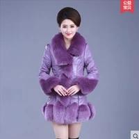 rex rabbit skin sheepskin down coat medium long female leather clothing fox fur 2017