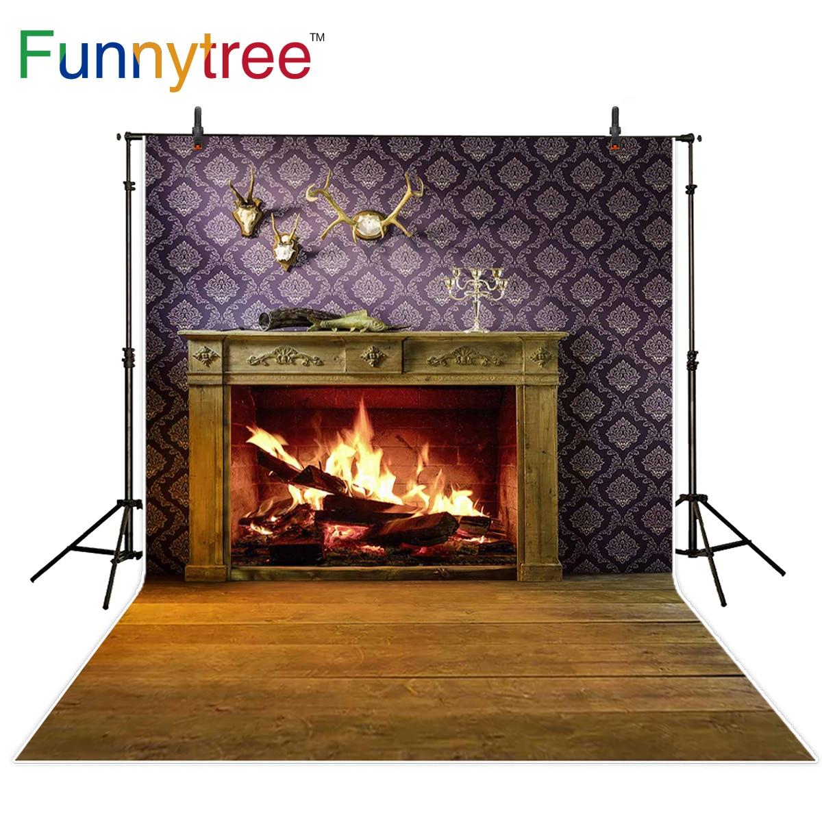 Funnytree fotografia backdrops lareira quarto natal chaminé aconchegante interior casa vintage férias photocall foto de fundo