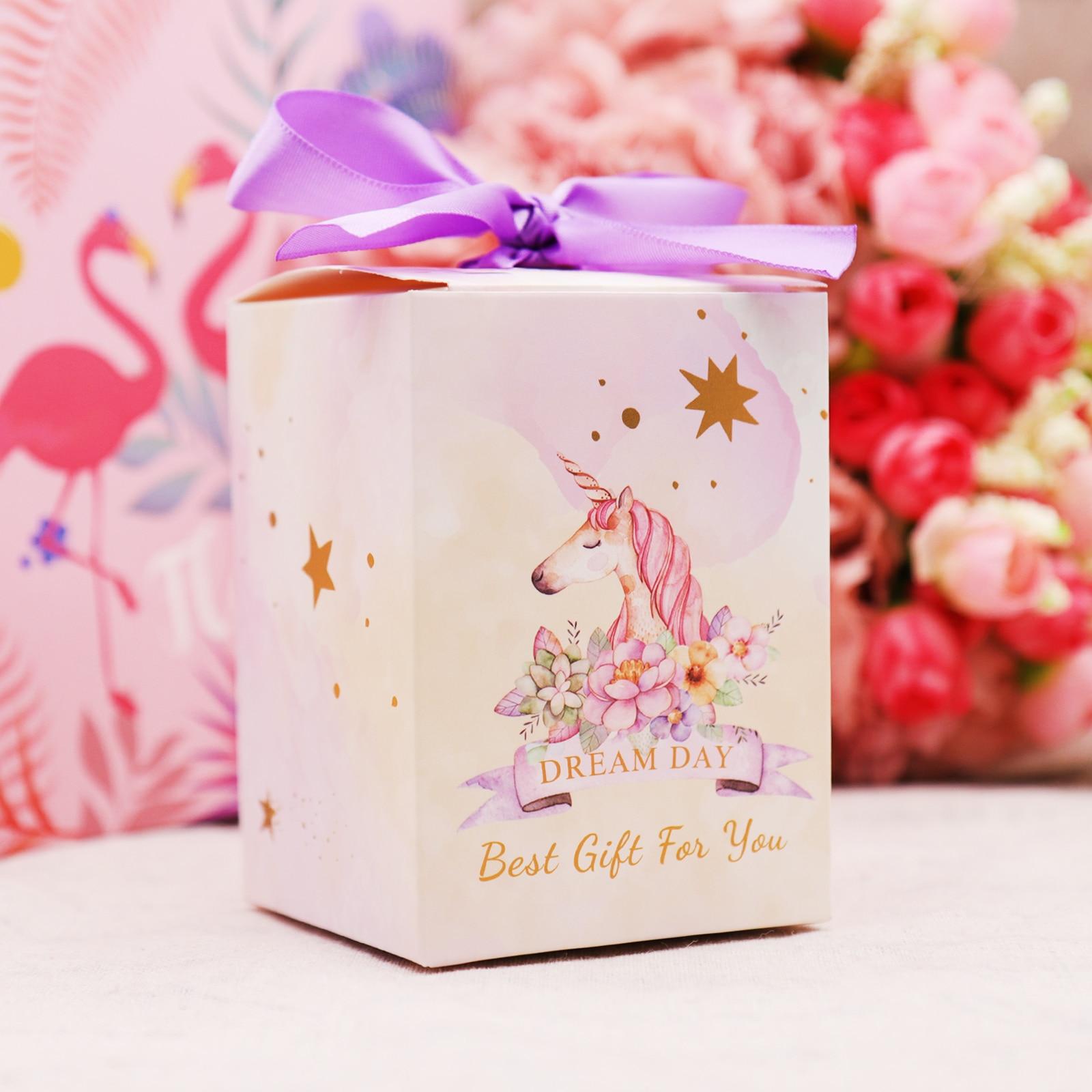 Caja de caramelos de papel europeo con diseño de flamenco, unicornio, hojas rosas, con cinta, caja de regalo de boda para Baby Shower, 1 Uds.
