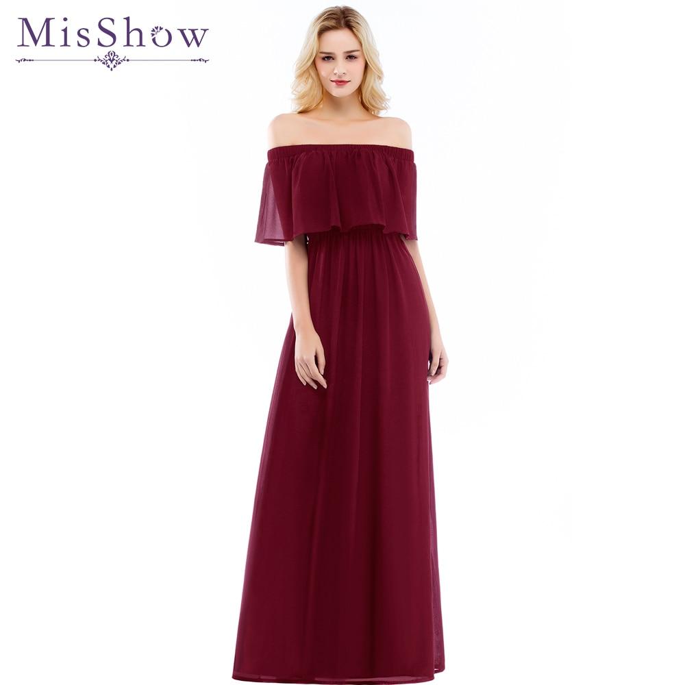 Cheap 2019 New Women Off the Shoulder Chiffon Bridesmaid Dress Long Party Pageant Wedding Formal Gown Elastic waist Summer Dress
