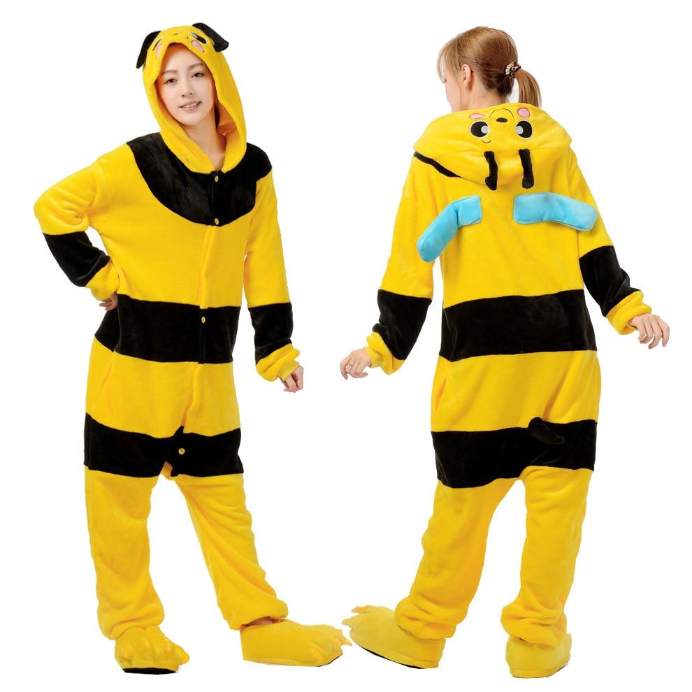 Kigurumi Bee Yellow Women Pajamas Sets Winter Flannel Animal Pajamas Women Cartoon Cosplay Onesies Costume Sleepwear
