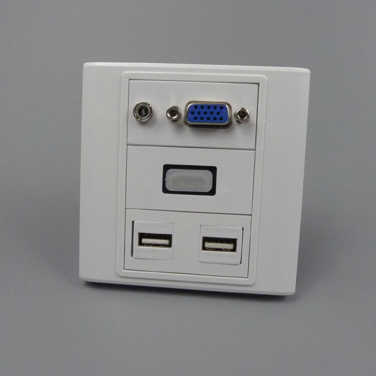 Vga, hdmi 3,5mm audio, placa de pared dual USB con conector hembra a hembra posterior