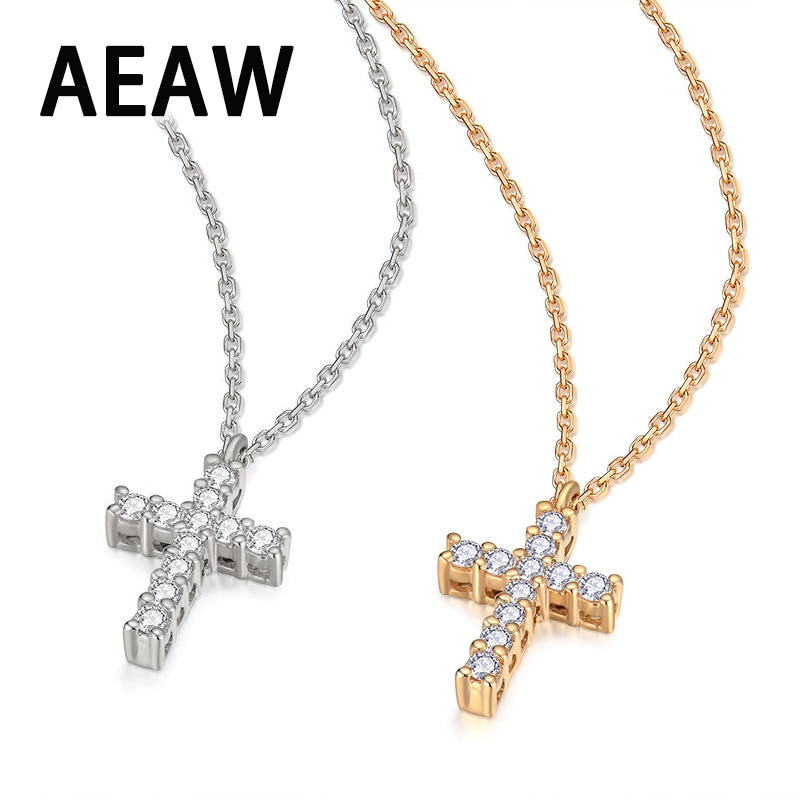 Collar con colgante de Cruz de diamante moissanita, de laboratorio, 14K, oro blanco para mujer