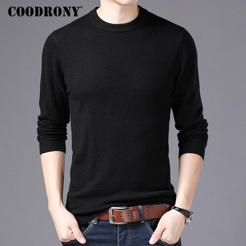 Suéter de marca COODRONY para hombre, cuello redondo, jersey para hombre, Otoño Invierno, 100%, suéteres de lana merina pura, suéter suave y cálido de Cachemira para hombre 93001
