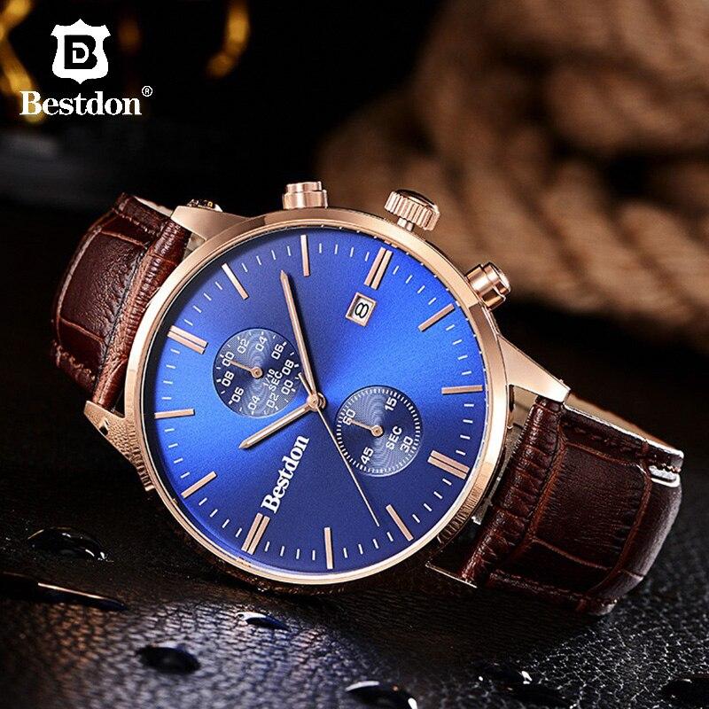 Bestdon, reloj deportivo multifuncional para hombre, cronógrafo Retro luminoso, relojes de cuarzo, reloj de cuero resistente al agua, marca Relogio Masculino