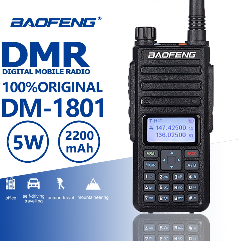 2019 جديد Baofeng DM-1801 DMR اسلكية تخاطب الطبقة I/II الرقمية التناظرية المزدوج وضع ثنائي الموجات اتجاهين راديو Comunicador Hf الإرسال والاستقبال