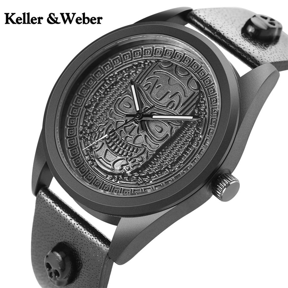 Keller&Weber Skull Head Stainless Steel Men Watches Ghost Skeleton Ancient Pattern Genuine Leather Quartz KW Watch Casual Clock