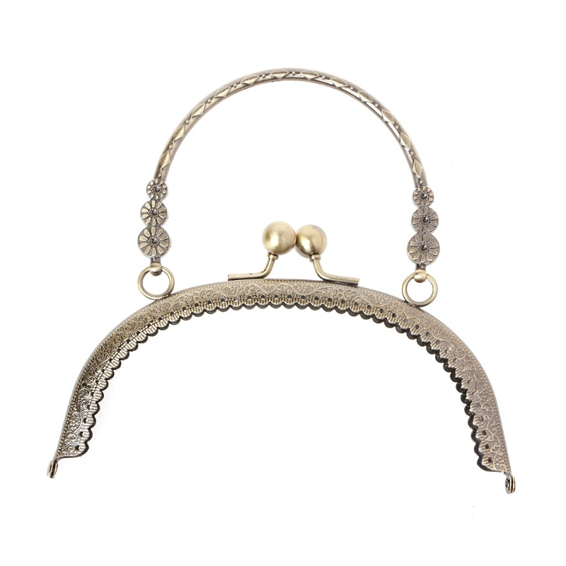 THINKTHENDO DIY Craft 16.5cm Metal Handbag Handle Frame Kiss Clasp Lock Handle Arch For DIY Purse Bag Fashion 2 Size New