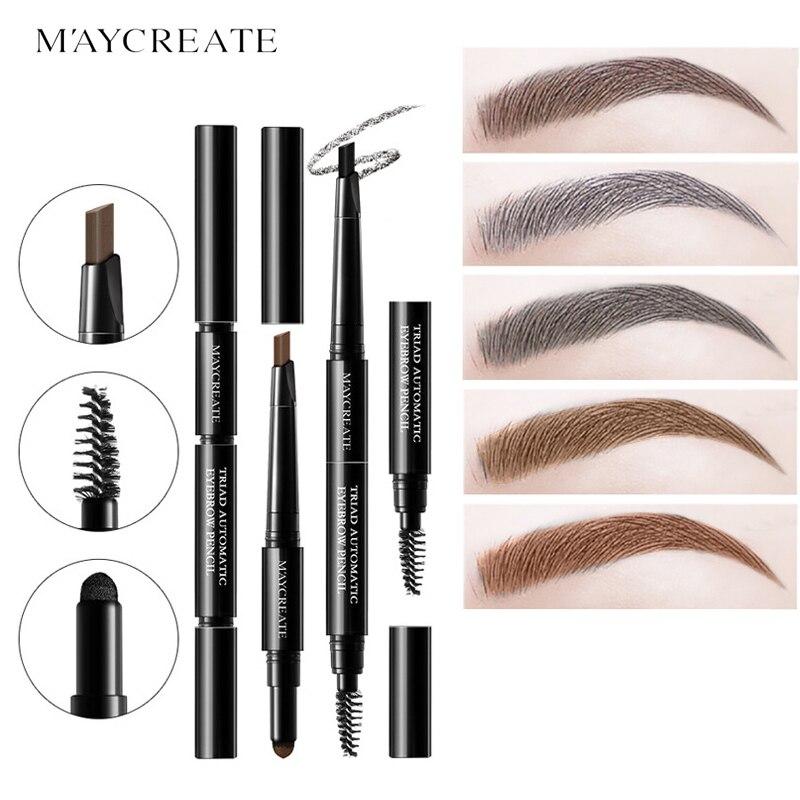 Juego de cejas multifuncionales 3 en 1 MayCreate para mujer, lápiz resistente al agua para cejas, polvo, pigmento negro marrón, kit para cejas