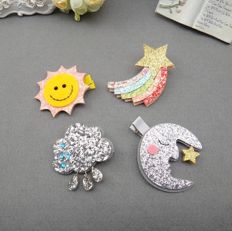 1 pcs nova moda sol e lua arco-íris nuvens hairpins meninas acessórios para o cabelo crianças headwear bebê grampos de cabelo