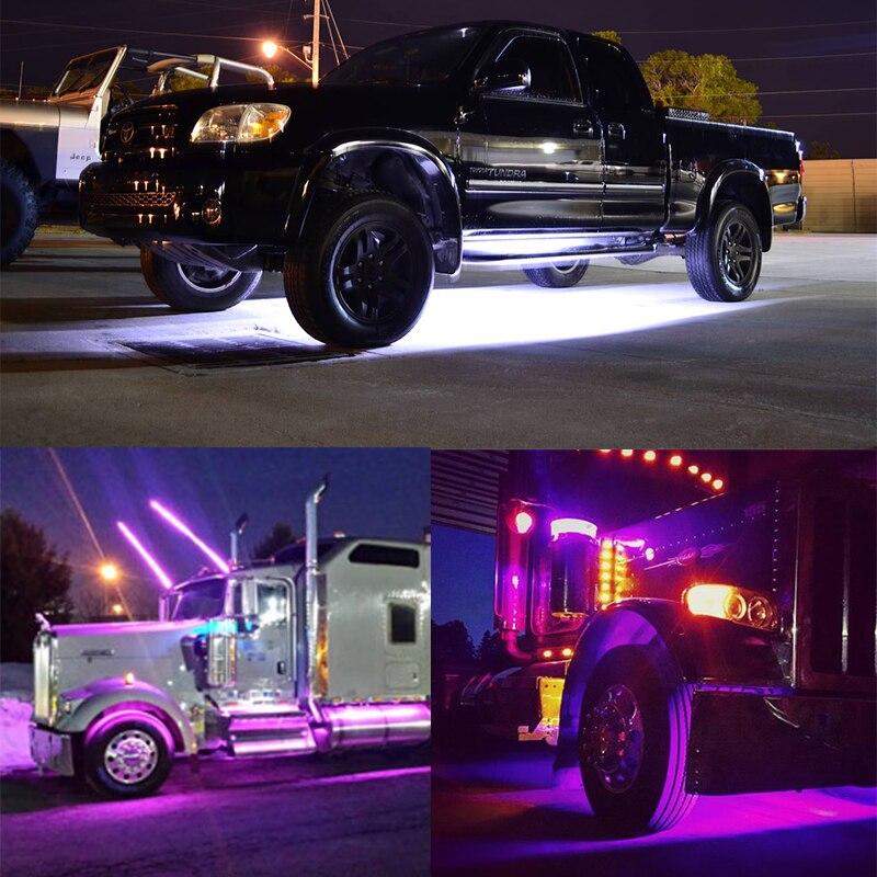 OKEEN car styling 2X150cm 12V millones de colores LED camión Barra de luz música inalámbrica remoto puerta trasera Underbody Side Marker Kit